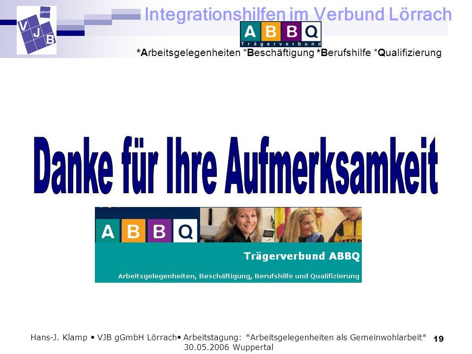 Integrationshilfen im Verbund Lörrach *Arbeitsgelegenheiten *Beschäftigung *Berufshilfe *Qualifizierung 19 Hans-J. Klamp VJB gGmbH Lörrach Arbeitstagu