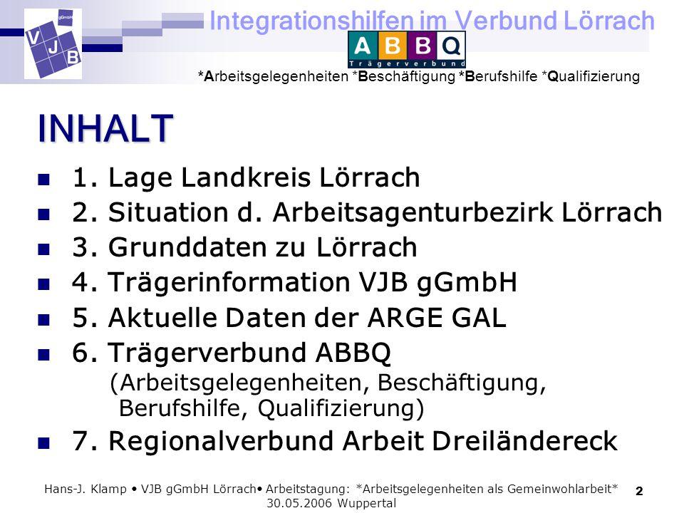 Integrationshilfen im Verbund Lörrach *Arbeitsgelegenheiten *Beschäftigung *Berufshilfe *Qualifizierung 2 Hans-J. Klamp VJB gGmbH Lörrach Arbeitstagun