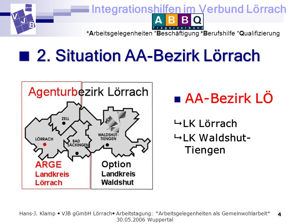Integrationshilfen im Verbund Lörrach *Arbeitsgelegenheiten *Beschäftigung *Berufshilfe *Qualifizierung 4 Hans-J. Klamp VJB gGmbH Lörrach Arbeitstagun