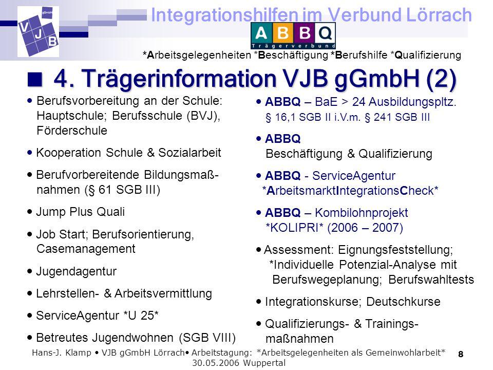 Integrationshilfen im Verbund Lörrach *Arbeitsgelegenheiten *Beschäftigung *Berufshilfe *Qualifizierung 8 Hans-J. Klamp VJB gGmbH Lörrach Arbeitstagun