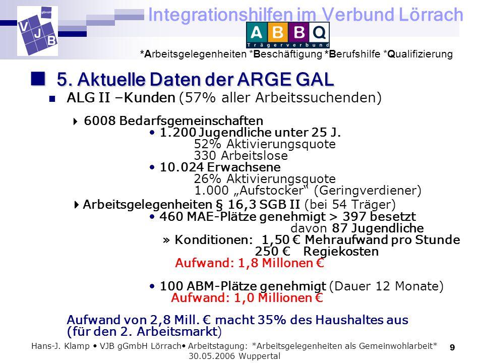 Integrationshilfen im Verbund Lörrach *Arbeitsgelegenheiten *Beschäftigung *Berufshilfe *Qualifizierung 9 Hans-J. Klamp VJB gGmbH Lörrach Arbeitstagun
