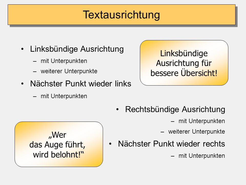 Stichwörter verwenden Stichwörter lenken weniger ab Texte nicht vorlesen (Ausnahme: Definitionen & Zitate) Definitionen immer ausformulieren Zeit lass