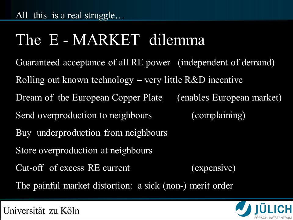 Universität zu Köln All this is a real struggle… The E - MARKET dilemma Guaranteed acceptance of all RE power (independent of demand) Rolling out known technology – very little R&D incentive Dream of the European Copper Plate (enables European market) Send overproduction to neighbours (complaining) Buy underproduction from neighbours Store overproduction at neighbours Cut-off of excess RE current (expensive) The painful market distortion: a sick (non-) merit order