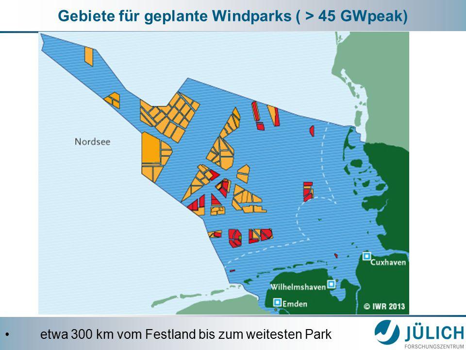 Gebiete für geplante Windparks ( > 45 GWpeak) etwa 300 km vom Festland bis zum weitesten Park