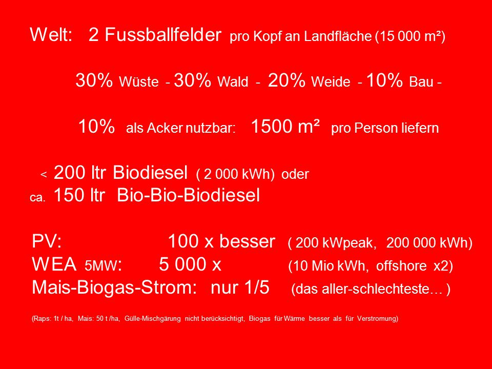 Universität zu Köln Welt: 2 Fussballfelder pro Kopf an Landfläche (15 000 m²) 30% Wüste - 30% Wald - 20% Weide - 10% Bau - 10% als Acker nutzbar: 1500 m² pro Person liefern < 200 ltr Biodiesel ( 2 000 kWh) oder ca.
