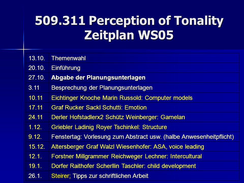 509.311 Perception of Tonality Zeitplan WS05 13.10.Themenwahl 20.10.Einführung 27.10. Abgabe der Planungsunterlagen 3.11 Besprechung der Planungsunter