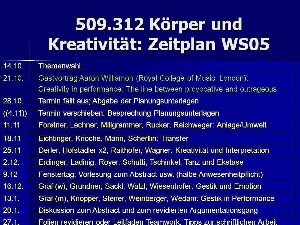 509.312 Körper und Kreativität: Zeitplan WS05 14.10.Themenwahl 21.10. Gastvortrag Aaron Williamon (Royal College of Music, London): Creativity in perf
