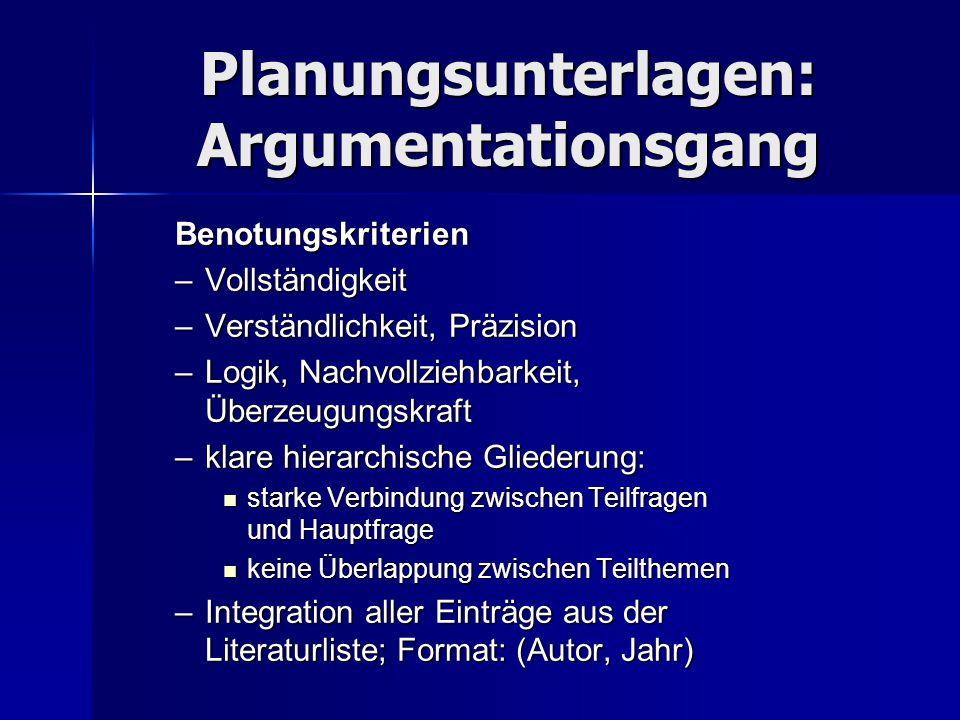 Planungsunterlagen: Argumentationsgang Benotungskriterien –Vollständigkeit –Verständlichkeit, Präzision –Logik, Nachvollziehbarkeit, Überzeugungskraft