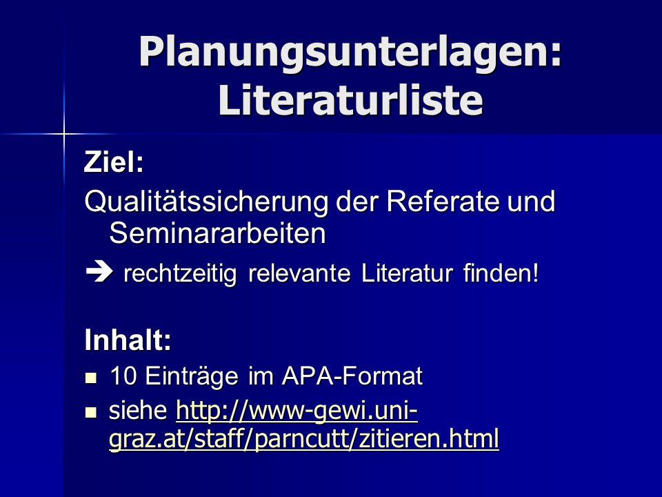 Planungsunterlagen: Literaturliste Ziel: Qualitätssicherung der Referate und Seminararbeiten  rechtzeitig relevante Literatur finden! Inhalt: 10 Eint