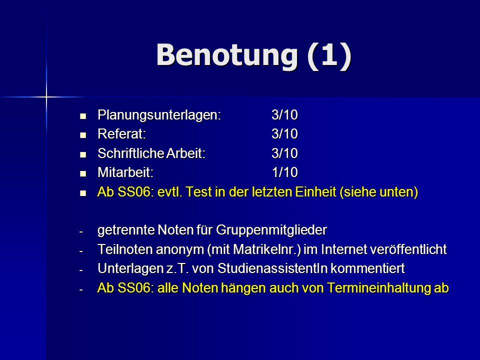 Benotung (1) Planungsunterlagen: 3/10 Planungsunterlagen: 3/10 Referat: 3/10 Referat: 3/10 Schriftliche Arbeit: 3/10 Schriftliche Arbeit: 3/10 Mitarbe