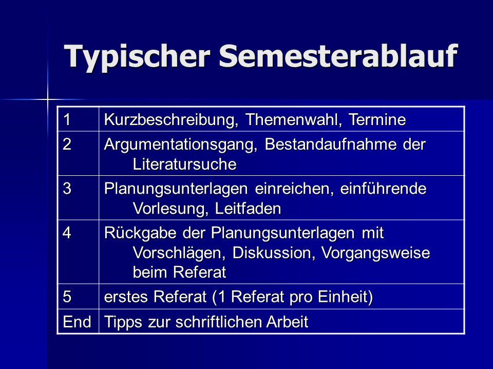 Typischer Semesterablauf 1 Kurzbeschreibung, Themenwahl, Termine 2 Argumentationsgang, Bestandaufnahme der Literatursuche 3 Planungsunterlagen einreic