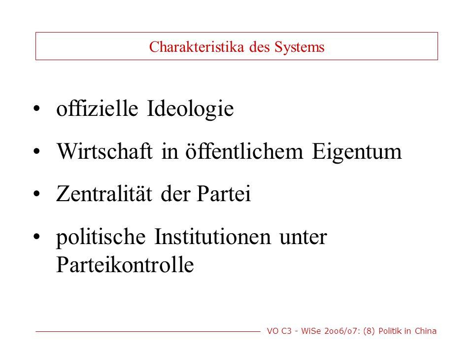 VO C3 - WiSe 2oo6/o7: (8) Politik in China offizielle Ideologie Wirtschaft in öffentlichem Eigentum Zentralität der Partei politische Institutionen unter Parteikontrolle Charakteristika des Systems