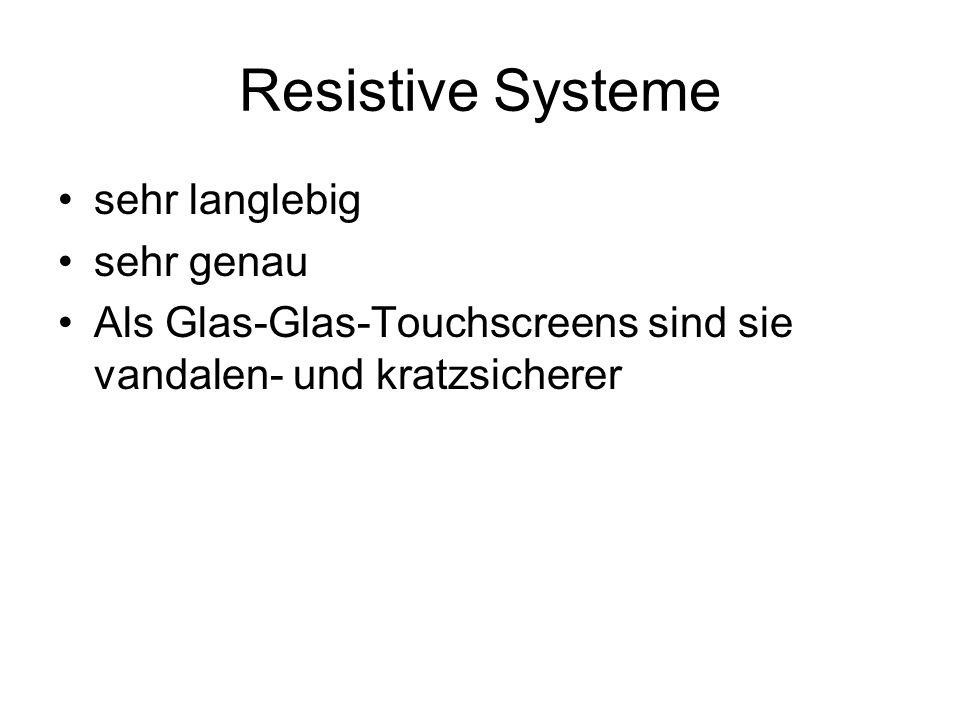 Resistive Systeme Bei Berührung treffen schichten aufeinander Kontakt löst Widerstand aus -> Spannung verändert sich Spannungsveränderung wird zur Bestimmung der x- und y-Koordinate verwendet Controllerboard regelt die Kommunikation