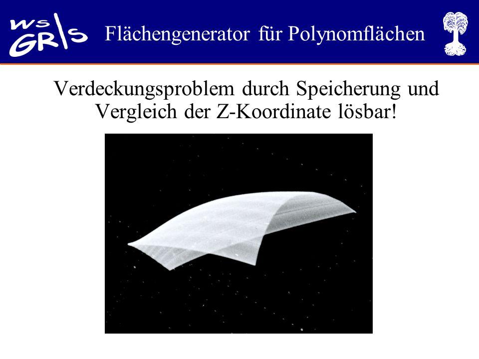 Verdeckungsproblem durch Speicherung und Vergleich der Z-Koordinate lösbar!