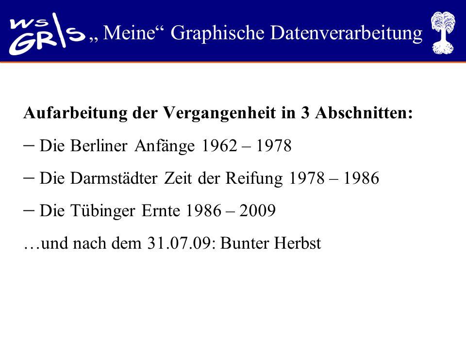 """"""" Meine"""" Graphische Datenverarbeitung Aufarbeitung der Vergangenheit in 3 Abschnitten:  Die Berliner Anfänge 1962 – 1978  Die Darmstädter Zeit der R"""
