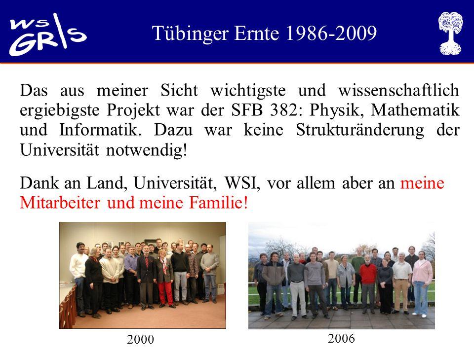 Tübinger Ernte 1986-2009 Das aus meiner Sicht wichtigste und wissenschaftlich ergiebigste Projekt war der SFB 382: Physik, Mathematik und Informatik.