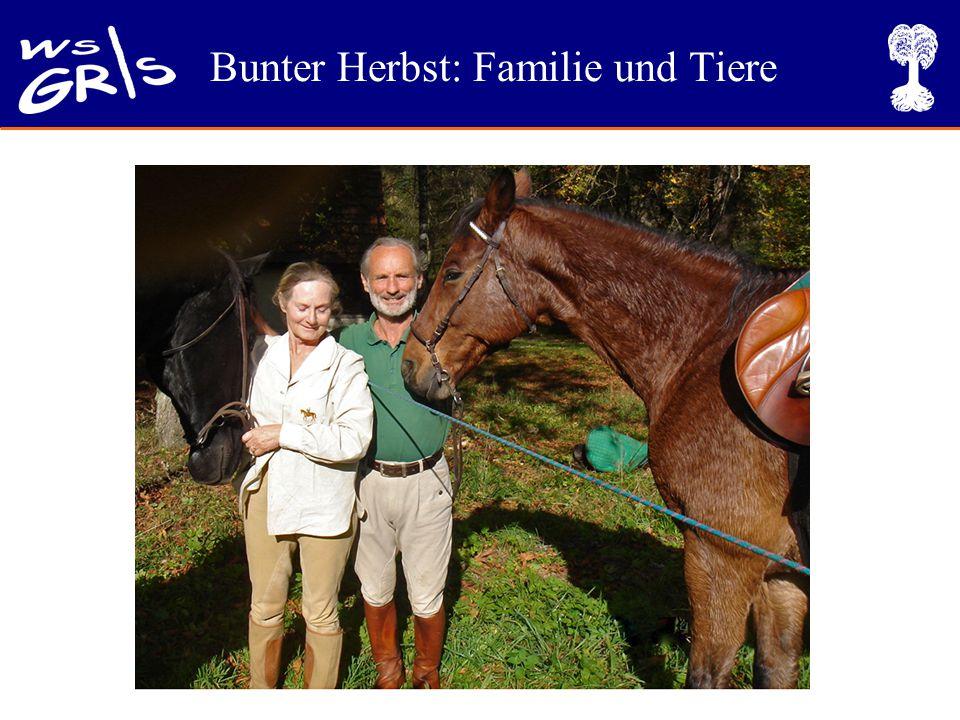 Bunter Herbst: Familie und Tiere