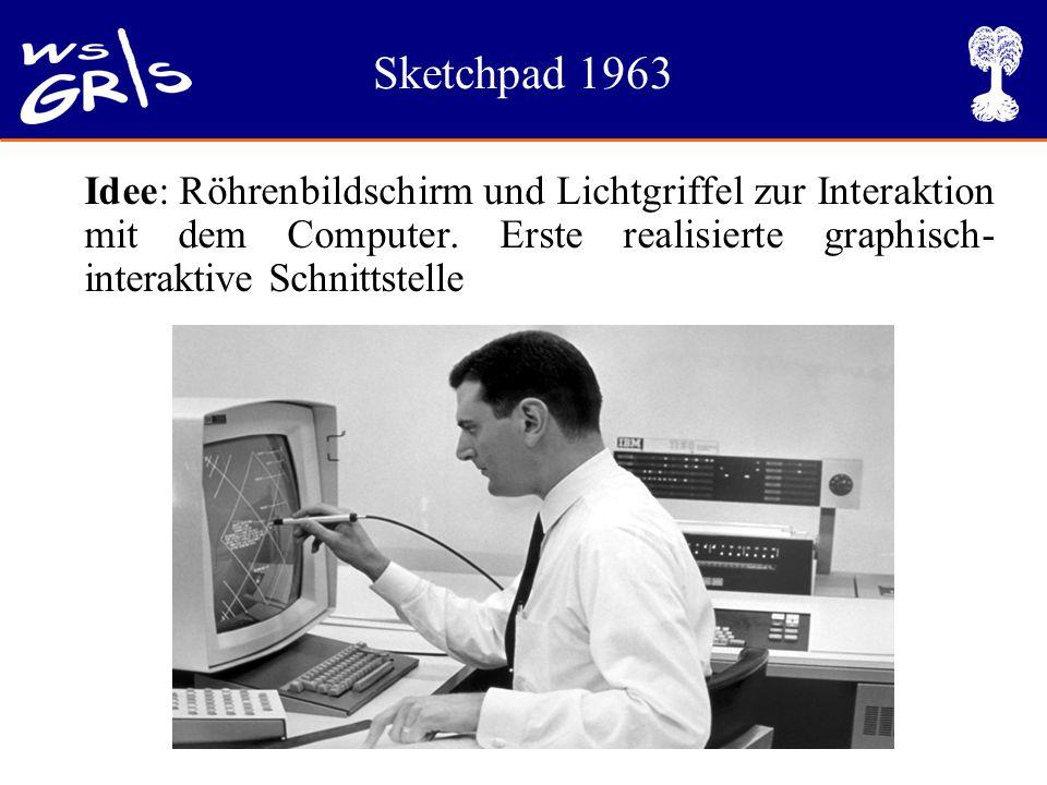 Sketchpad 1963 Idee: Röhrenbildschirm und Lichtgriffel zur Interaktion mit dem Computer. Erste realisierte graphisch- interaktive Schnittstelle