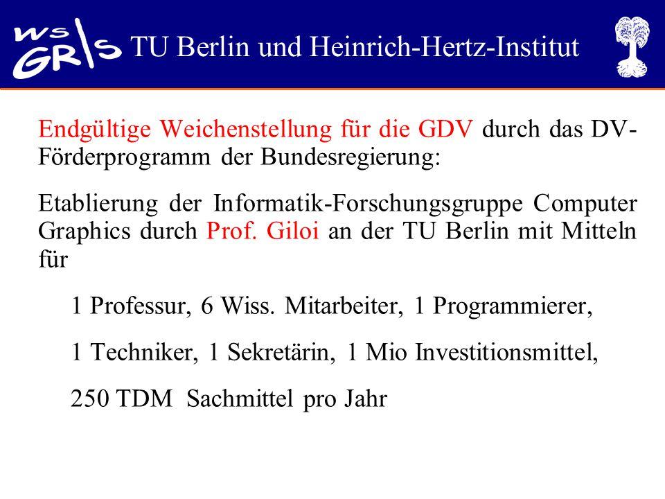 TU Berlin und Heinrich-Hertz-Institut Endgültige Weichenstellung für die GDV durch das DV- Förderprogramm der Bundesregierung: Etablierung der Informatik-Forschungsgruppe Computer Graphics durch Prof.