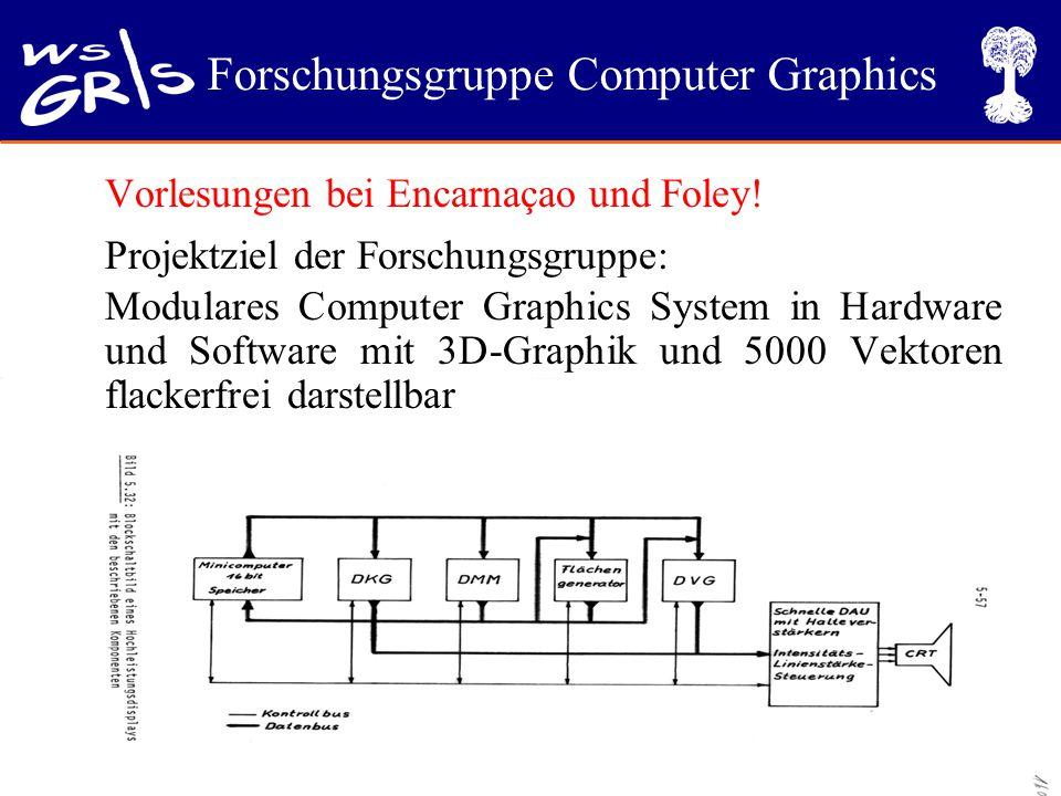 Forschungsgruppe Computer Graphics Vorlesungen bei Encarnaçao und Foley! Projektziel der Forschungsgruppe: Modulares Computer Graphics System in Hardw