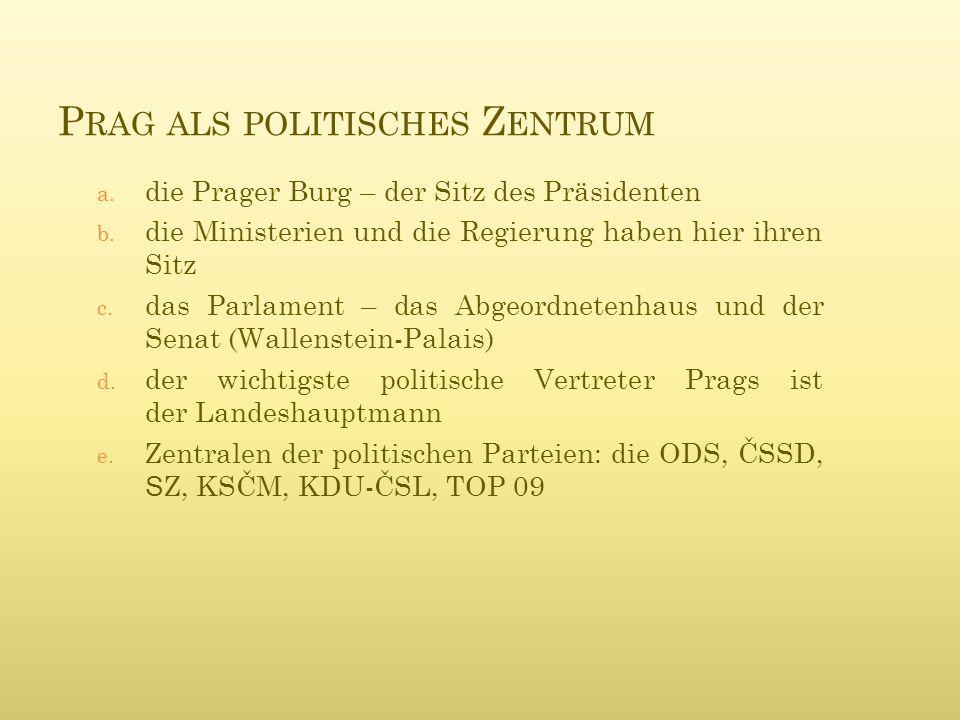 P RAG ALS POLITISCHES Z ENTRUM a. die Prager Burg – der Sitz des Präsidenten b.
