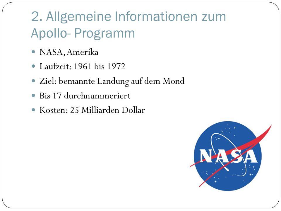 NASA, Amerika Laufzeit: 1961 bis 1972 Ziel: bemannte Landung auf dem Mond Bis 17 durchnummeriert Kosten: 25 Milliarden Dollar
