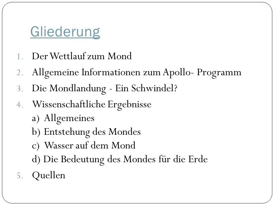 Gliederung 1.Der Wettlauf zum Mond 2. Allgemeine Informationen zum Apollo- Programm 3.