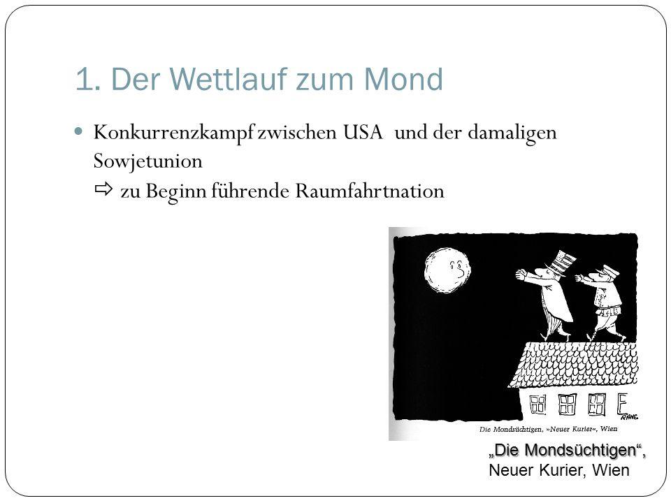 """1. Der Wettlauf zum Mond Konkurrenzkampf zwischen USA und der damaligen Sowjetunion  zu Beginn führende Raumfahrtnation """"Die Mondsüchtigen"""", """"Die Mon"""
