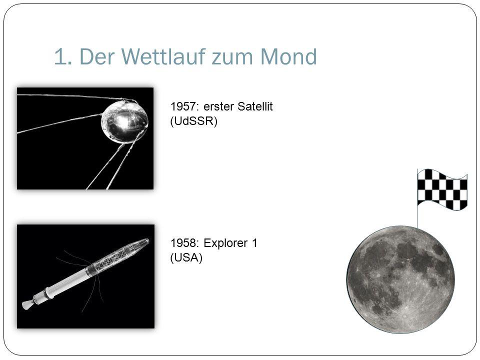 1. Der Wettlauf zum Mond 1957: erster Satellit (UdSSR) 1958: Explorer 1 (USA)