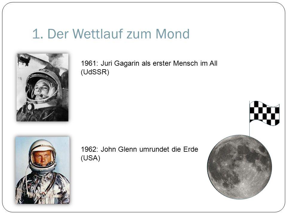 1. Der Wettlauf zum Mond 1962: John Glenn umrundet die Erde (USA) 1961: Juri Gagarin als erster Mensch im All (UdSSR)