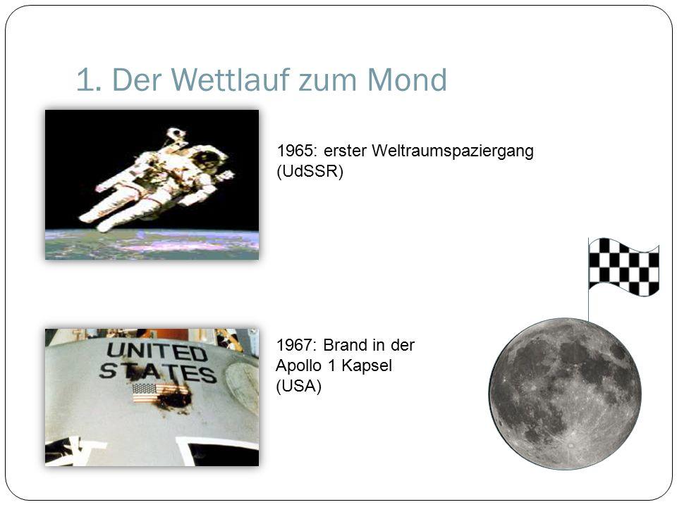 1. Der Wettlauf zum Mond 1967: Brand in der Apollo 1 Kapsel (USA) 1965: erster Weltraumspaziergang (UdSSR)