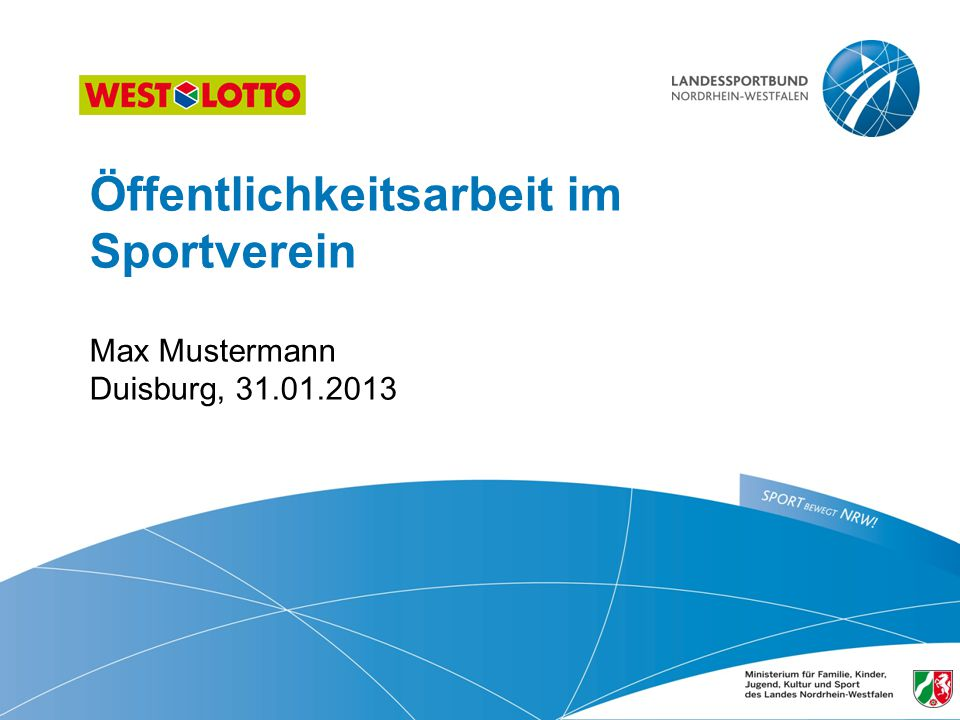 Öffentlichkeitsarbeit im Sportverein Max Mustermann Duisburg, 31.01.2013