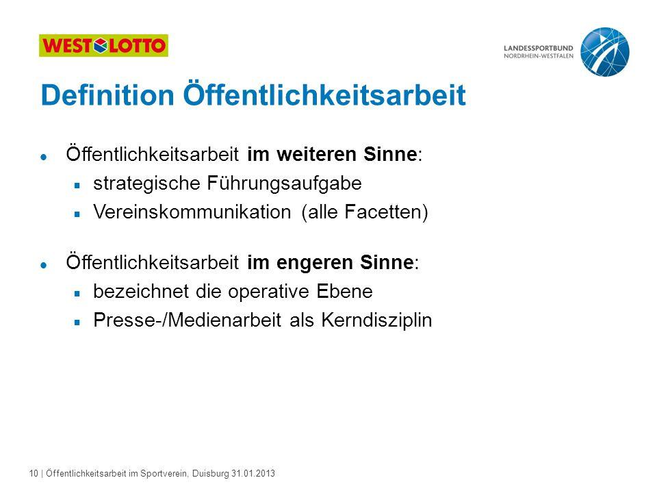 10   Öffentlichkeitsarbeit im Sportverein, Duisburg 31.01.2013 Definition Öffentlichkeitsarbeit l Öffentlichkeitsarbeit im weiteren Sinne:  strategis
