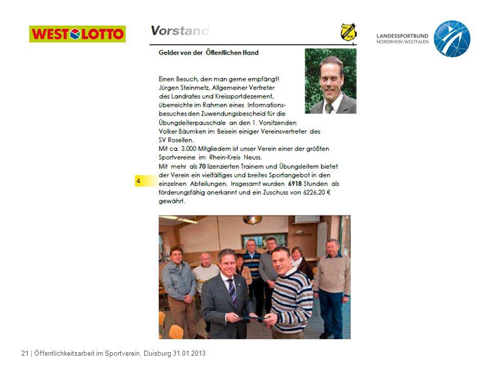 21   Öffentlichkeitsarbeit im Sportverein, Duisburg 31.01.2013