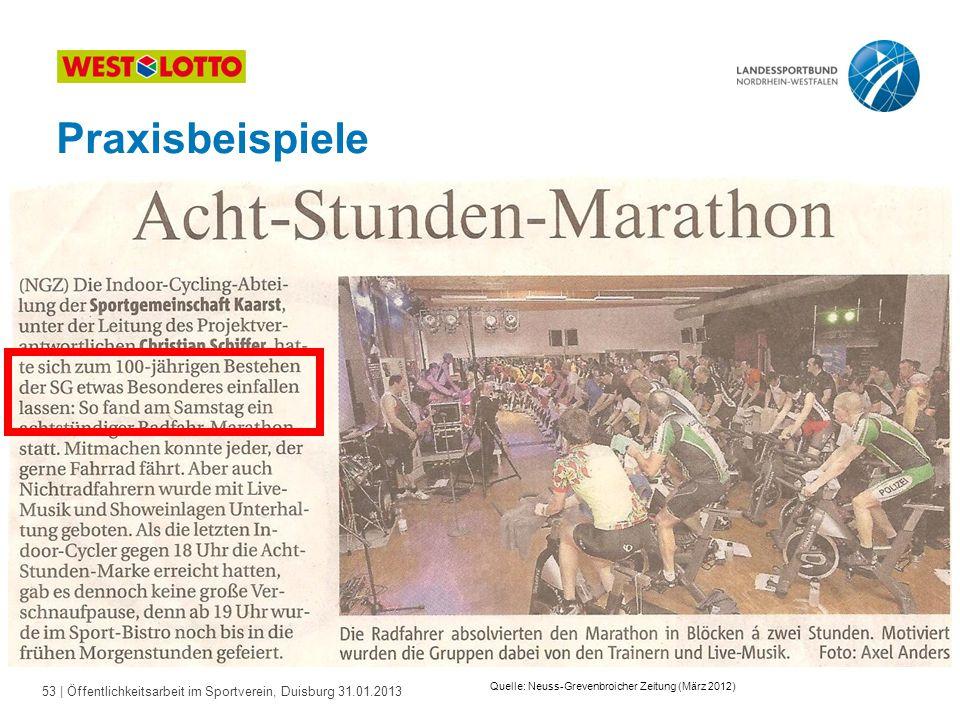 53   Öffentlichkeitsarbeit im Sportverein, Duisburg 31.01.2013 Praxisbeispiele Quelle: Neuss-Grevenbroicher Zeitung (März 2012)