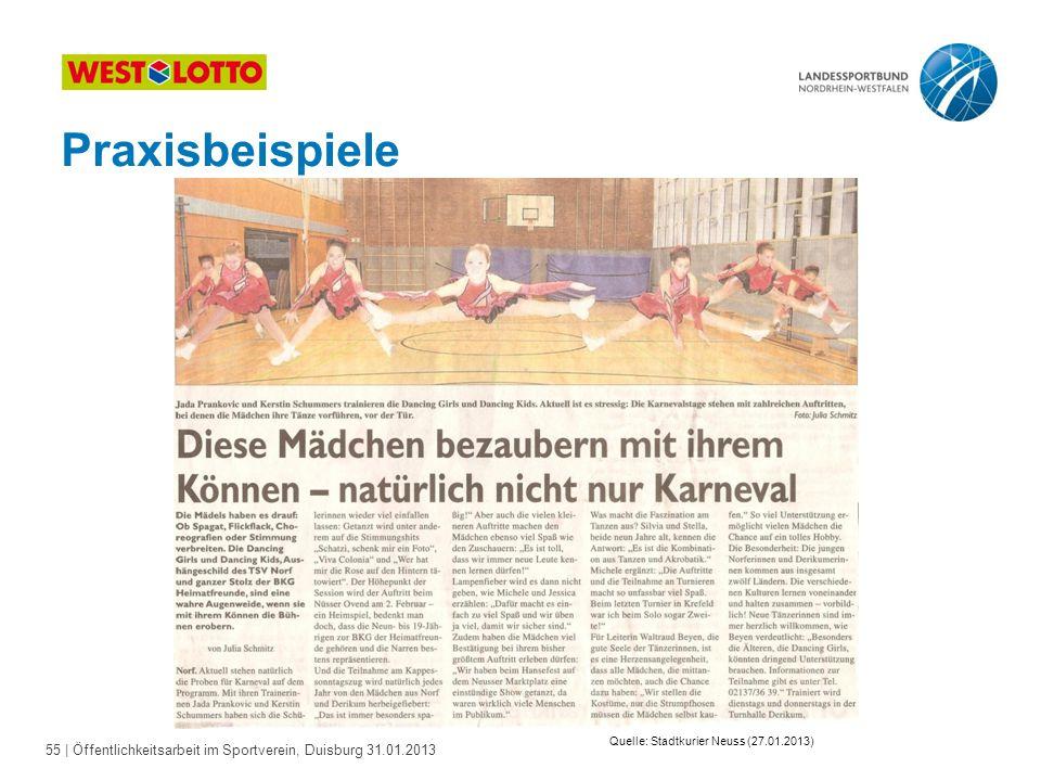 55   Öffentlichkeitsarbeit im Sportverein, Duisburg 31.01.2013 Praxisbeispiele Quelle: Stadtkurier Neuss (27.01.2013)