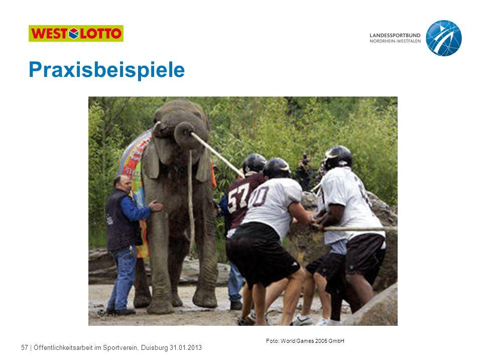 57   Öffentlichkeitsarbeit im Sportverein, Duisburg 31.01.2013 Praxisbeispiele Foto: World Games 2005 GmbH