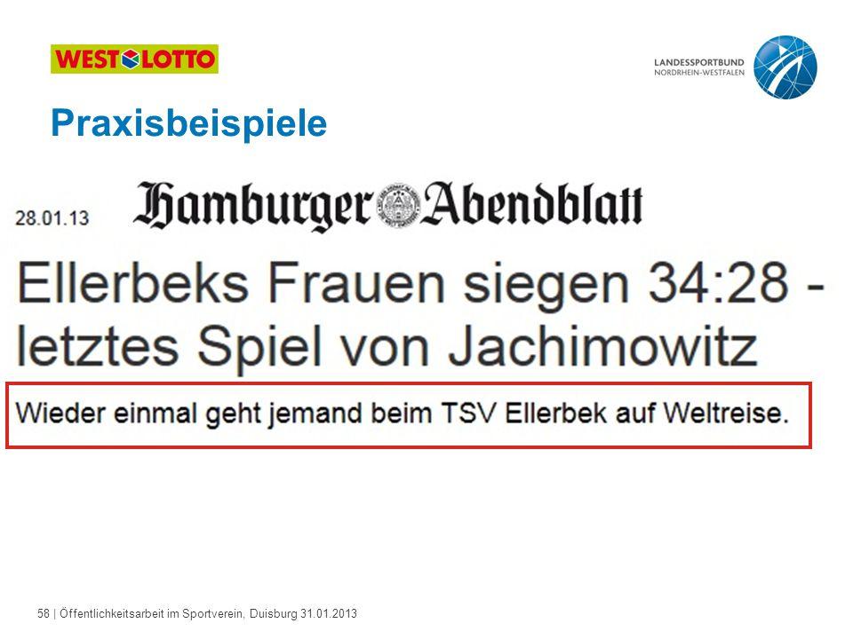 58   Öffentlichkeitsarbeit im Sportverein, Duisburg 31.01.2013 Praxisbeispiele
