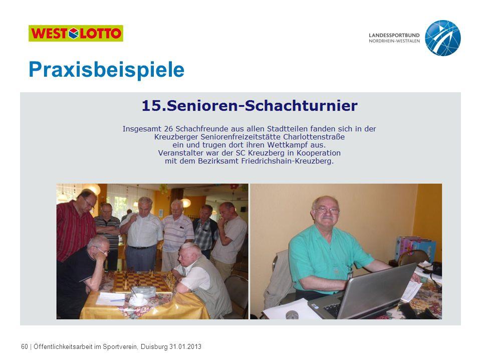 60   Öffentlichkeitsarbeit im Sportverein, Duisburg 31.01.2013 Praxisbeispiele
