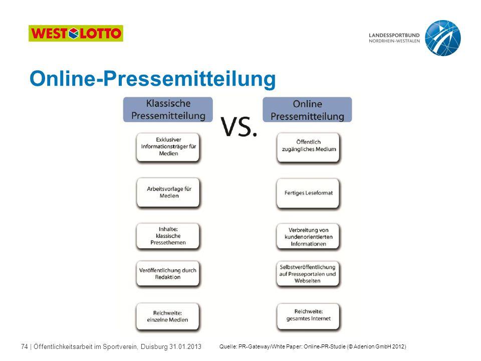 74   Öffentlichkeitsarbeit im Sportverein, Duisburg 31.01.2013 Online-Pressemitteilung Quelle: PR-Gateway/White Paper: Online-PR-Studie (© Adenion Gmb