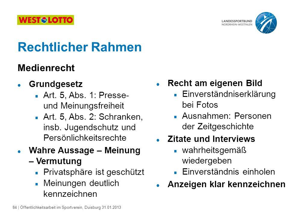 84   Öffentlichkeitsarbeit im Sportverein, Duisburg 31.01.2013 Rechtlicher Rahmen Medienrecht l Grundgesetz  Art. 5, Abs. 1: Presse- und Meinungsfrei