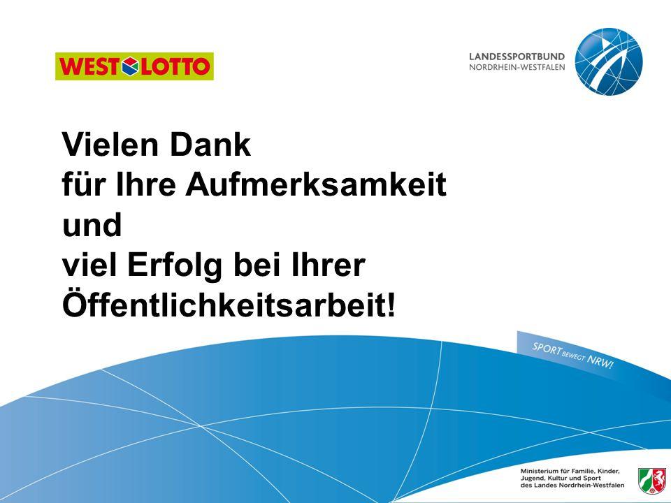 87   Öffentlichkeitsarbeit im Sportverein, Duisburg 31.01.2013 Vielen Dank für Ihre Aufmerksamkeit und viel Erfolg bei Ihrer Öffentlichkeitsarbeit!