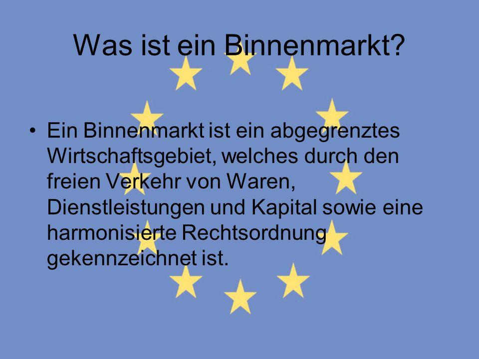 Was ist ein Binnenmarkt? Ein Binnenmarkt ist ein abgegrenztes Wirtschaftsgebiet, welches durch den freien Verkehr von Waren, Dienstleistungen und Kapi