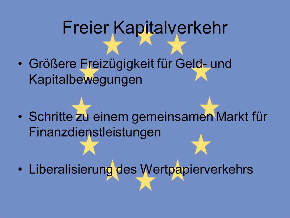 Freier Kapitalverkehr Größere Freizügigkeit für Geld- und Kapitalbewegungen Schritte zu einem gemeinsamen Markt für Finanzdienstleistungen Liberalisie