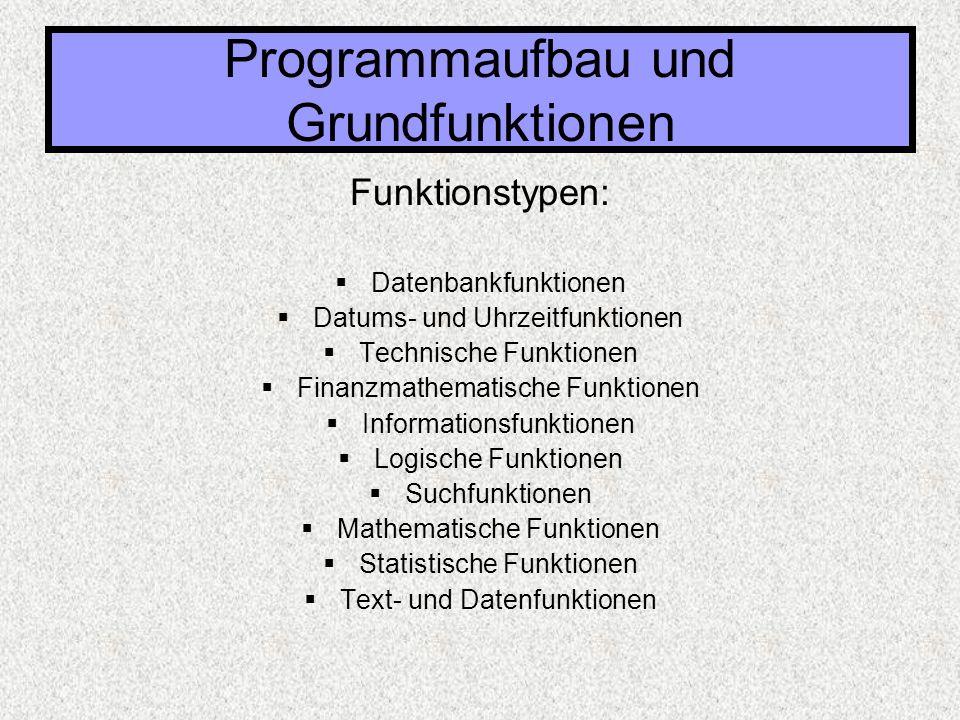 Funktionstypen:  Datenbankfunktionen  Datums- und Uhrzeitfunktionen  Technische Funktionen  Finanzmathematische Funktionen  Informationsfunktione