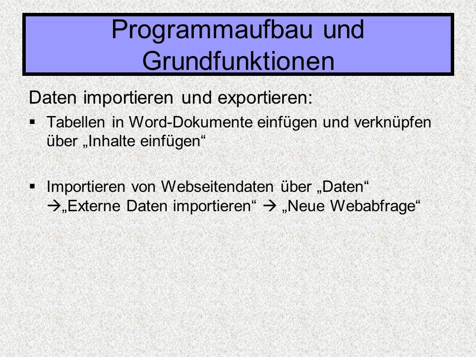 """Daten importieren und exportieren:  Tabellen in Word-Dokumente einfügen und verknüpfen über """"Inhalte einfügen""""  Importieren von Webseitendaten über"""