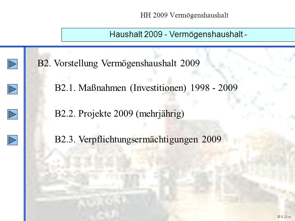 HH 2009 Vermögenshaushalt Haushalt 2009 - Vermögenshaushalt - B2. Vorstellung Vermögenshaushalt 2009 B2.1. Maßnahmen (Investitionen) 1998 - 2009 B2.2.