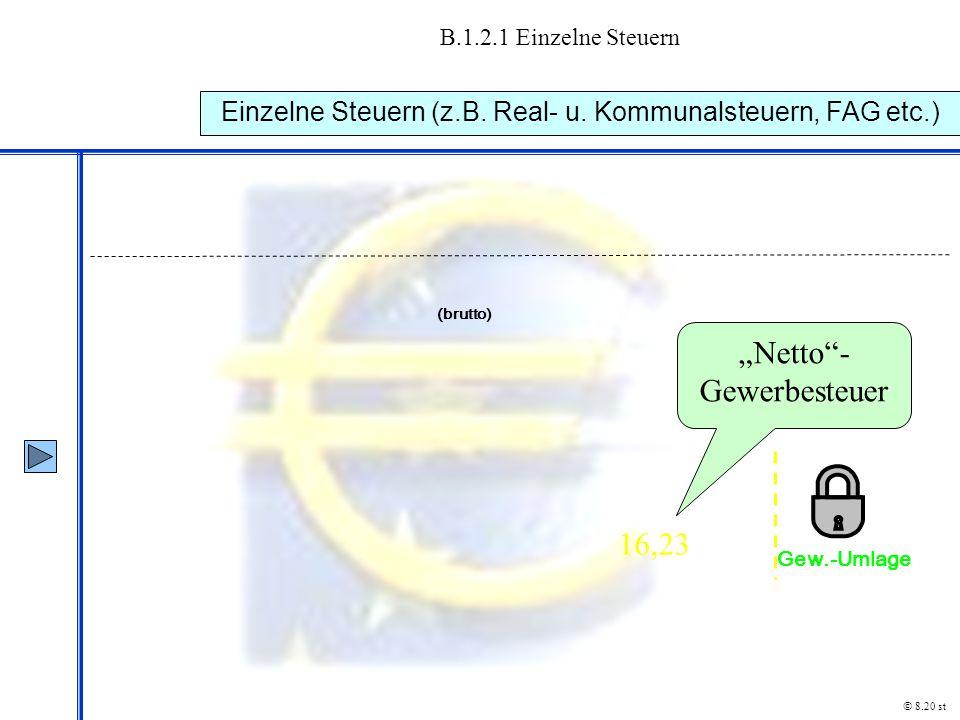 """B.1.2.1 Einzelne Steuern Einzelne Steuern (z.B. Real- u. Kommunalsteuern, FAG etc.) © 8.20 st """"Netto""""- Gewerbesteuer 16,23 (brutto) Gew.-Umlage"""
