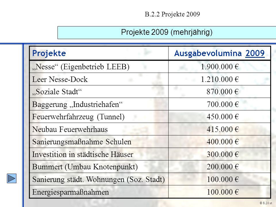 "B.2.2 Projekte 2009 Projekte 2009 (mehrjährig) © 8.20 st ProjekteAusgabevolumina 2009 ""Nesse"" (Eigenbetrieb LEEB)1.900.000 € Leer Nesse-Dock1.210.000"