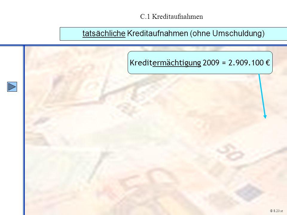 C.1 Kreditaufnahmen tatsächliche Kreditaufnahmen (ohne Umschuldung) © 8.20 st Kreditermächtigung 2009 = 2.909.100 €